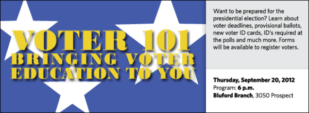 Want to be prepared for the presidential election? Learn about voter deadlines, provisional ballots, new voter ID cards, ID's required at the polls and much more. Forms will be available to register voters.