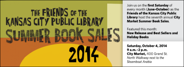 Join us on the first Saturday of every month (June-October) as the Friends of the Kansas City Public Library host the seventh annual City Market Summer Book Sales.  Featured this month: New Release and Best Sellers and Holiday Books