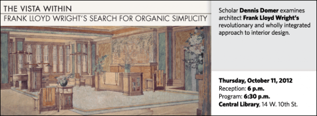 Scholar Dennis Domer examines  architect Frank Lloyd Wright's revolutionary and wholly integrated approach to interior design.
