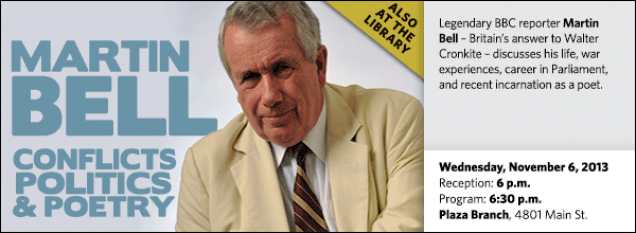 Legendary BBC reporter Martin Bell – Britain's answer to Walter Cronkite – discusses his life, war experiences, career in Parliament, and recent incarnation as a poet.