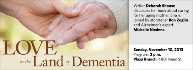 Writer Deborah Shouse discusses her book about caring for her aging mother. She is joined by storyteller Ron Zoglin and Alzheimer's expert  Michelle Niedens.