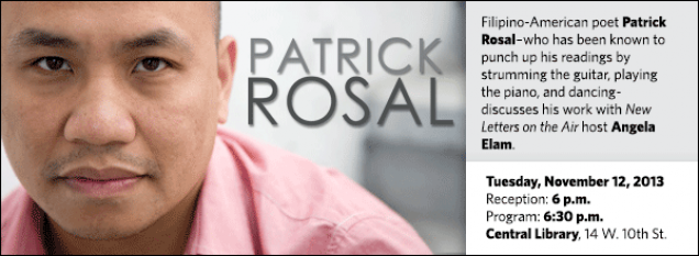 Filipino-American poet Patrick Rosal–who has been known to punch up his readings by strumming the guitar, playing the piano, and dancing-discusses his work with New Letters on the Air host Angela Elam.