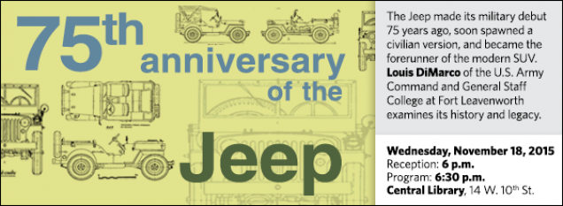 The Jeep made its military debut 75 years ago, soon spawned a civilian version, and became the forerunner of the modern SUV. Louis DiMarco of the U.S. Army Command and General Staff College at Fort Leavenworth examines its history and legacy.