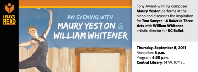 Tony Award-winning composer Maury Yeston performs at the piano and discusses the inspiration for Tom Sawyer – A Ballet in Three Acts with William Whitener, artistic director for KC Ballet.