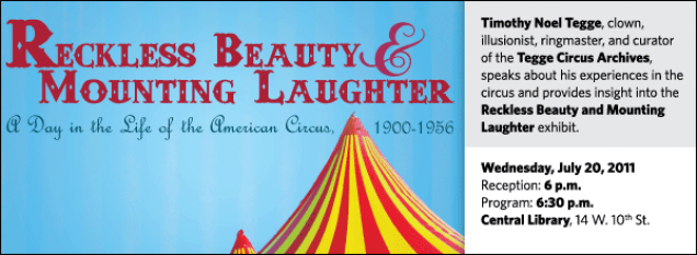 Timothy Noel Tegge, clown, illusionist, ringmaster, and curator of the Tegge Circus Archives,  speaks about his experiences in the circus and provides insight into the Reckless Beauty and Mounting Laughter exhibit.