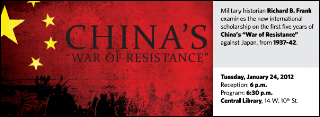 "Military historian Richard B. Frank examines the new international scholarship on the first five years of China's ""War of Resistance"" against Japan, from 1937-42."