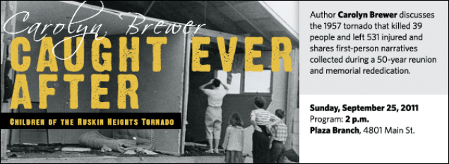 Author Carolyn Brewer discusses the 1957 tornado that killed 39 people and left 531 injured and shares first-person narratives collected during a 50-year reunion and memorial rededication.