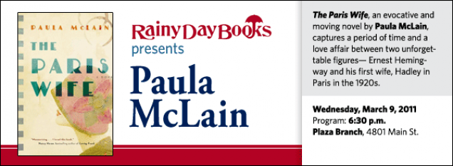 The Paris Wife, an evocative and moving novel by Paula McLain, captures a period of time and a love affair between two unforgettable figures— Ernest Hemingway and his first wife, Hadley in Paris in the 1920s.