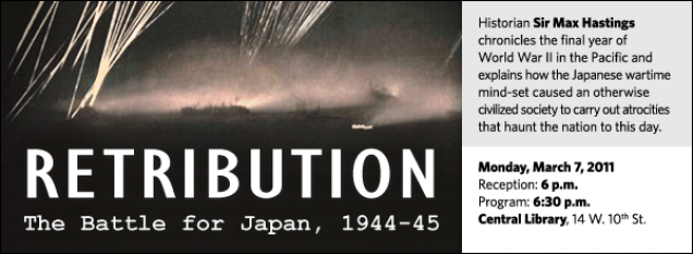Historian Sir Max Hastings chronicles the final year of  World War II in the Pacific and explains how the Japanese wartime mind-set caused an otherwise civilized society to carry out atrocities that haunt the nation to this day.