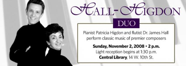 Pianist Patricia Higdon and flautist Dr. James Hall form the Hall-Higdon Duo