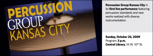 Percussion Group Kansas City in its first live performance featuring percussion standards and new works realized with diverse instrumentation.