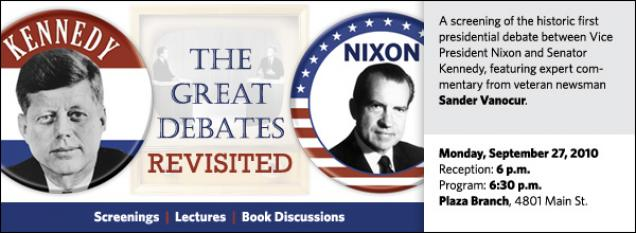 A screening of the historic first presidential debate between Vice President Nixon and Senator Kennedy, featuring expert commentary from veteran newsman Sander Vanocur.
