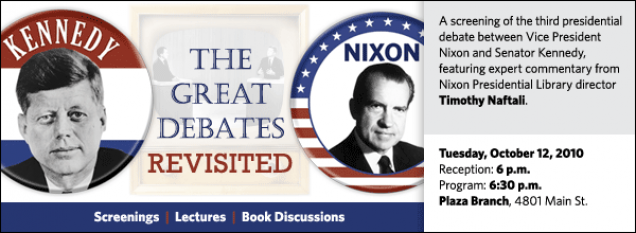 This third event in a series called The Great Debates  Revisited features a screening of the third presidential debate between Kennedy  and Nixon, with introductory commentary and a post-screening Q&A session led by Timothy Naftali.