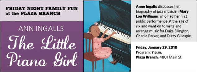 Anne Ingalls discusses her  biography of jazz musician Mary Lou Williams, who had her first public performance at the age of  six and went on to write and arrange music for Duke Ellington, Charlie Parker, and Dizzy Gillespie.